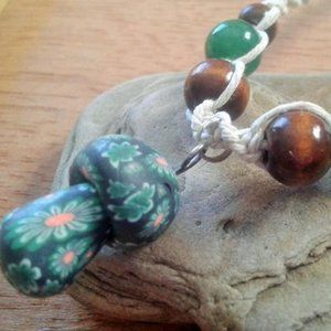 Mushroom Hemp Necklace Green Aventurine Stone Bead